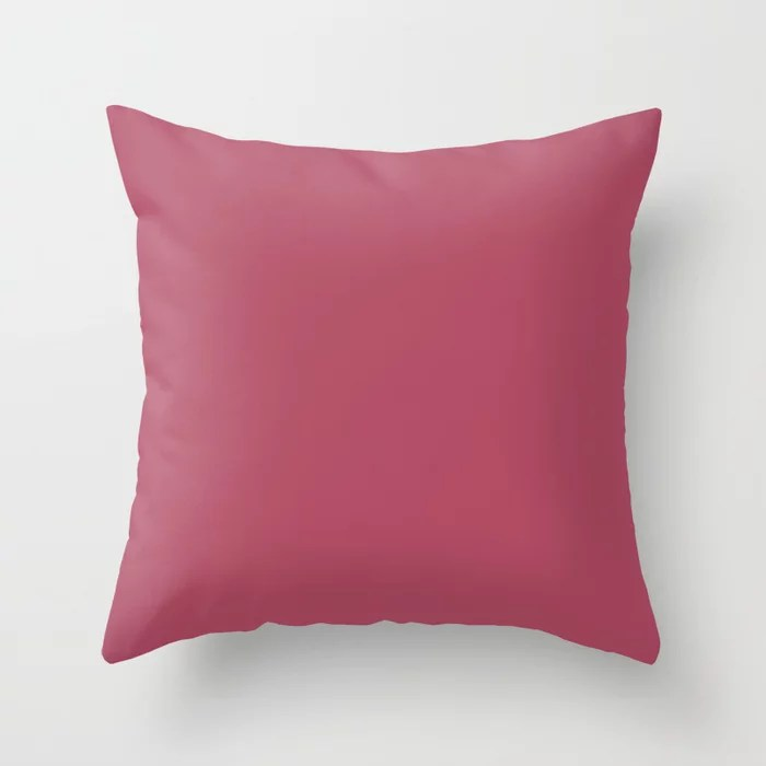 Muted Ruby Red Solid Color Pairs To Sherwin Williams Gala Pink SW 6579 Throw Pillow