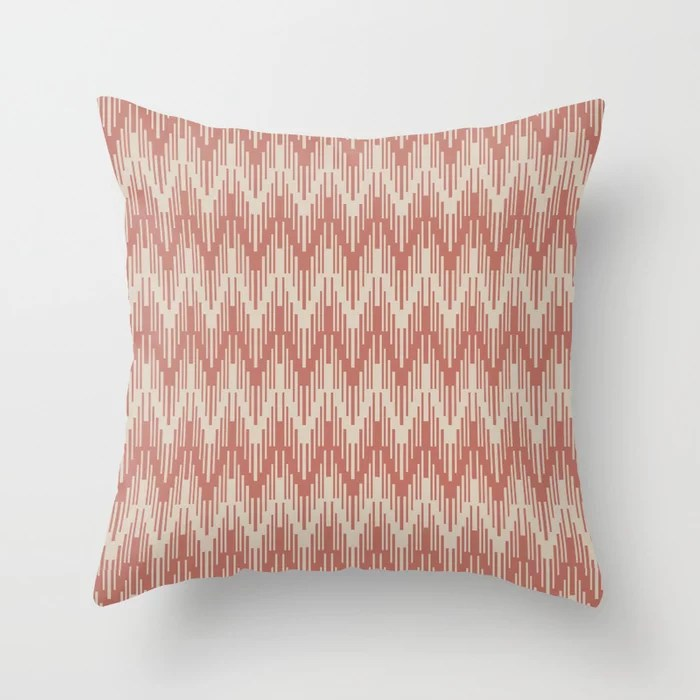Light Beige Dark Peach Chevron Ripple Pattern: Hues were inspired by and match (pair / coordinate with) 2021 Color of the Year Uptown Ecru & Moroccan Clay Throw Pillow