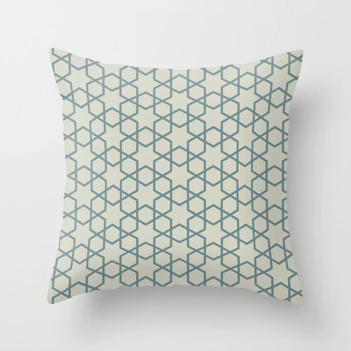 Muted Aqua and Beige Abstract Stars and Diamonds 2021 Color of the Year Aegean Teal and Sweet Spring Throw Pillow