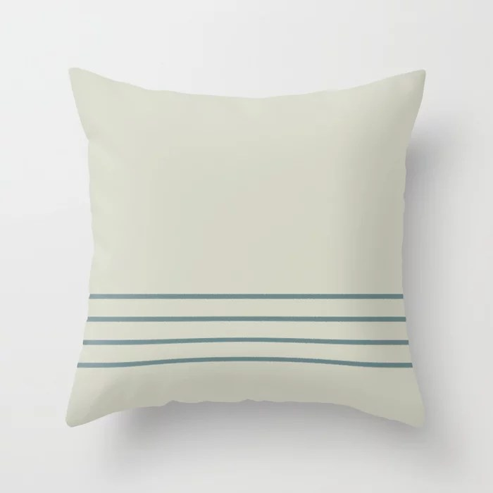 Muted Aqua and Beige Line Pattern 2021 Color of the Year Aegean Teal and Sweet Spring Throw Pillow