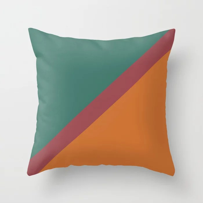 Red Green Orange Minimal Thin Angled Line Pattern 2021 Color of the Year Passionate and Accent Shade Throw Pillow