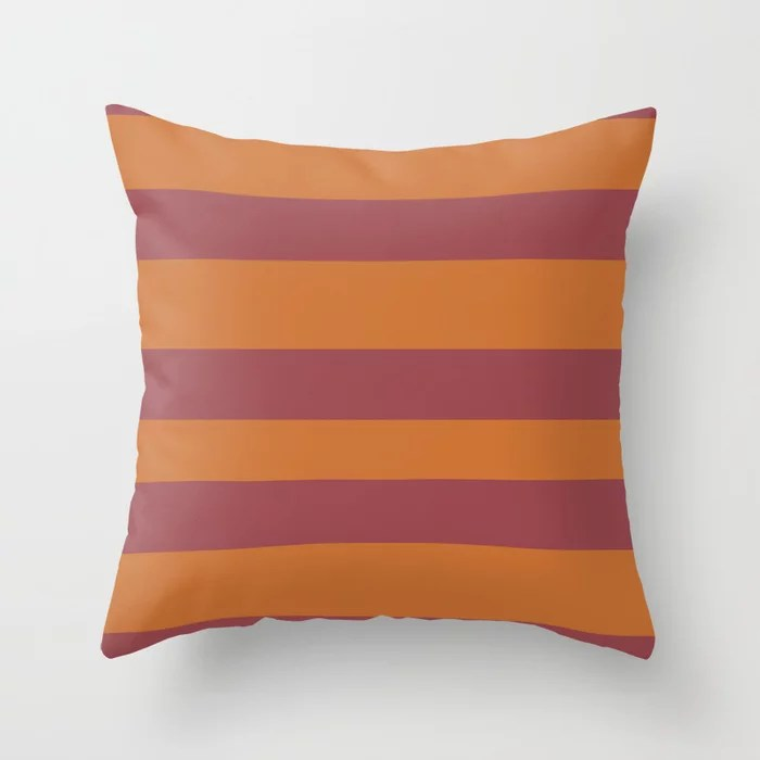 Red and Orange Wide Horizontal Stripe Pattern 2021 Color of the Year Passionate and Copper Kettle Throw Pillow