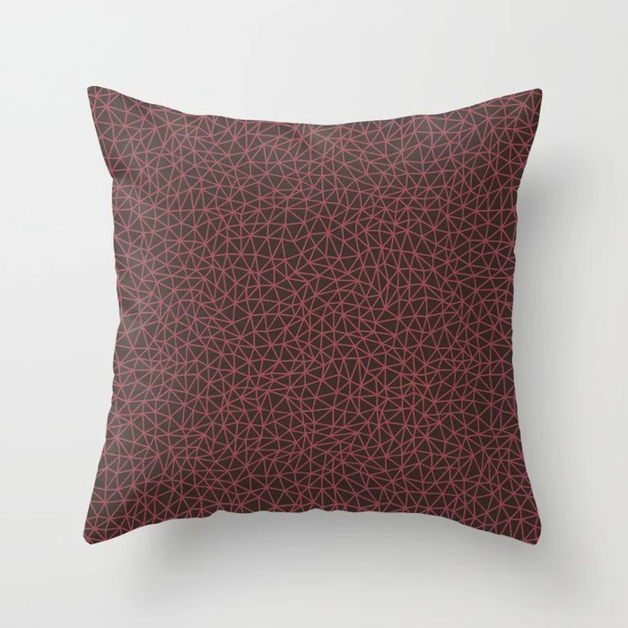 Red and Brown Triangle Shape Pattern 2021 Color of the Year Passionate & Dark Bronzetone Throw Pillow