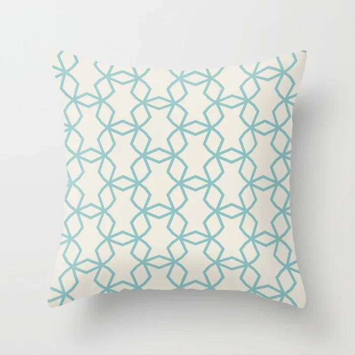 Aquamarine Cream Geometric Mosaic Pattern 2021 Color of the Year Aqua Fiesta and Horseradish Throw Pillow