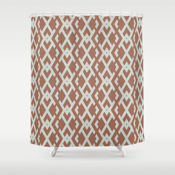 Pastel Green and Clay Vertical Zig Zag Pattern Pairs Behr 2022 Color of the Year Breezeway MQ3-21 Shower Curtain. 2022 color trend