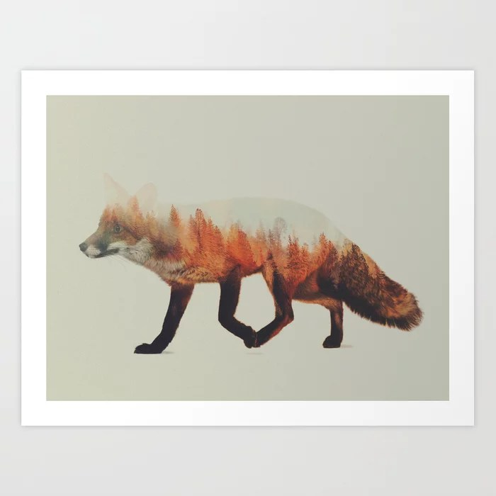 Sunday's Society6 | Double exposure fox photography art print