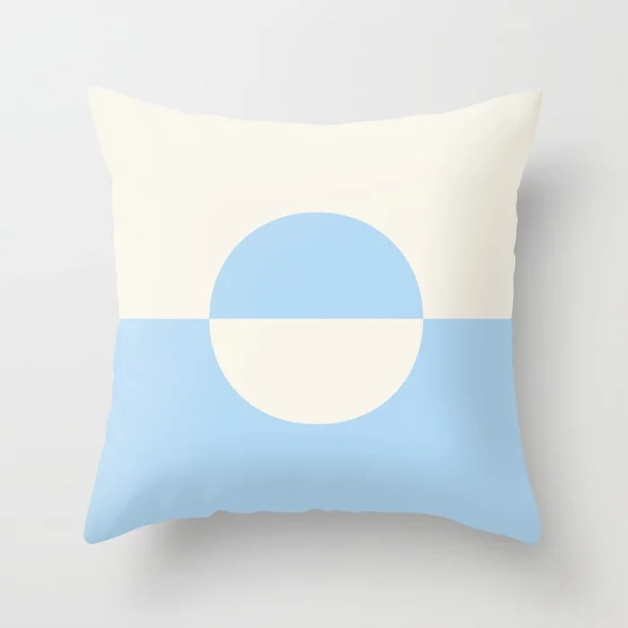 Baby Blue and Off-White Minimal Circle Design 2 2021 Color of the Year Wild Blue Yonder Swiss Coffee Throw Pillow