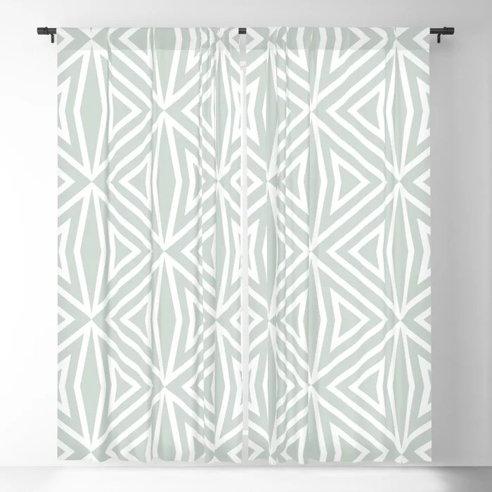 Pastel Green and White Shape Tile Pattern 3 Pairs Behr 2022 Color of the Year Breezeway MQ3-21 Blackout Curtain. Spring/Summer 2022 color forecast