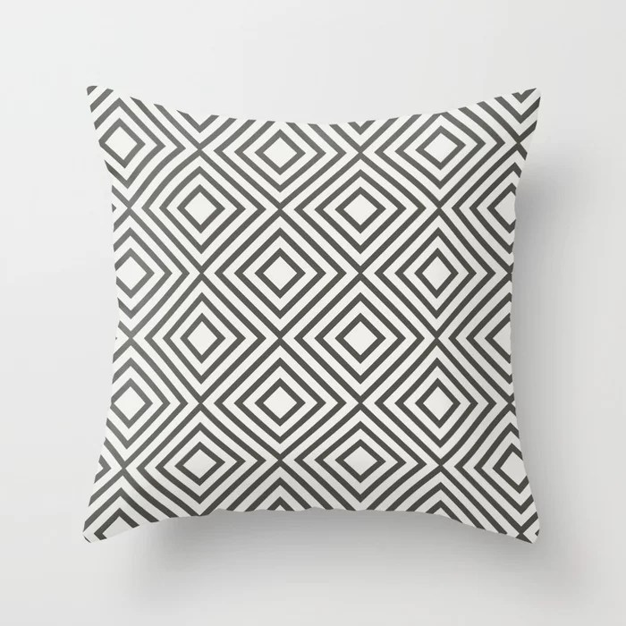 Brown and White Minimal Square Line Art Pattern V2 Throw Pillows match and coordinate with Sherwin Williams Paints 2021 Color of the Year Urbane Bronze and Extra White