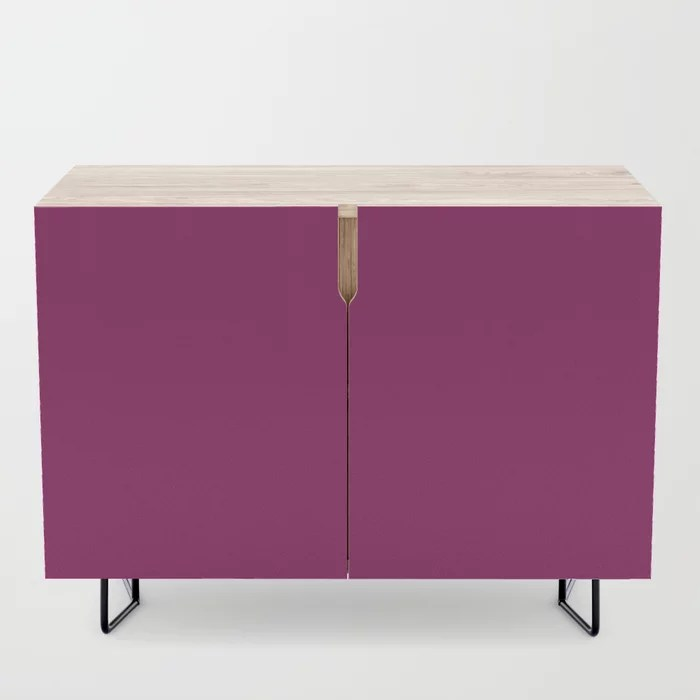 Orchid Flower Deep Pink Purple Solid Color 2022 Colour of the Year Credenza. 2022 color trend - color scheme