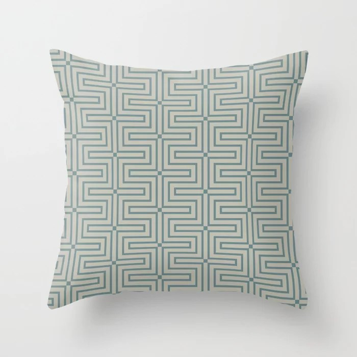 Blue-Green Tan Line Art Pattern 3 V2 2021 Color of the Year Aegean Teal and Winterwood Throw Pillow