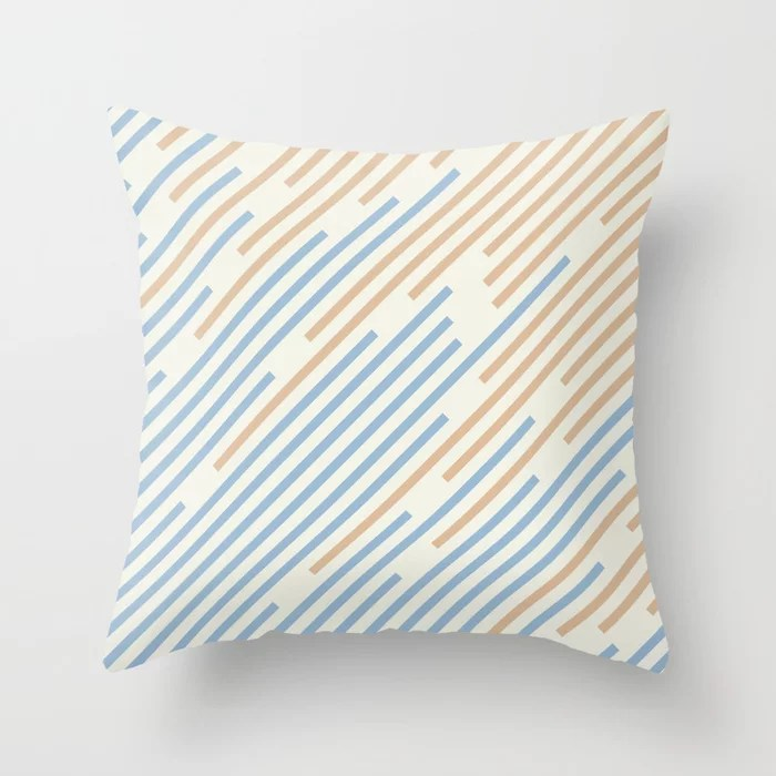 Pastel Blue Off White Peach Off-set Stripe Pattern Throw Pillows inspired by and pairs to (matches / coordinates with) Dutch Boy 2021 Color of the Year Earth's Harmony & Accents