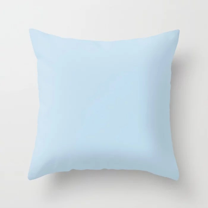 Dunn And Edwards 2019 Curated Colors Island View Pastel Baby Blue De5848 Solid Color Throw Pillow By Simplysolids Society6