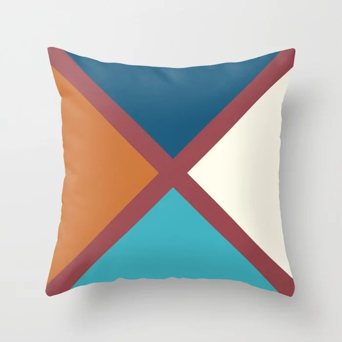 Red Blue Off-White Minimal Line Pattern Pairs HGTV 2021 Color of the Year Passionate Throw Pillow