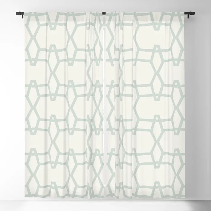 Mint Green and Cream Tessellation Line Pattern 9 Behr 2022 Color of the Year Breezeway MQ3-21 Blackout Curtain. Spring/Summer 2022 color forecast