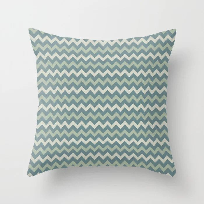 Blue-Green Beige Green Chevron Pattern 2021 Color of the Year Aegean Teal and Accent Shades Throw Pillow