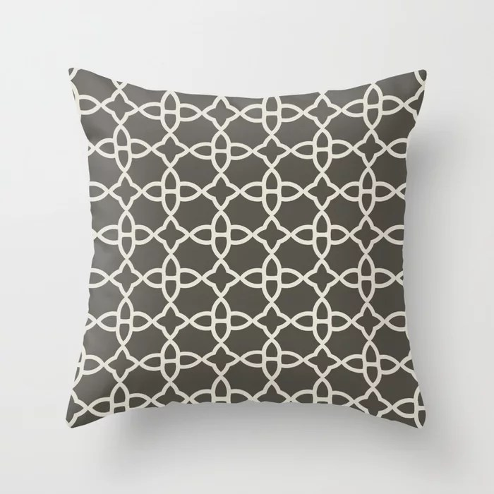 Brown and Cream Minimal Line Art Pattern 4 V2 2021 Color of the Year Urbane Bronze and Shoji White Throw Pillow