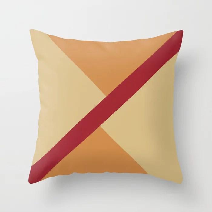 Red Beige Orange Diagonal Stripe Offset Pattern Rustoleum 2021 Color of the Year Satin Paprika Throw Pillow