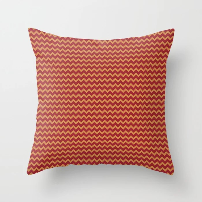 Red Orange Brown Chevron Pattern 2021 Color of the Year Satin Paprika and Satin Warm Caramel Throw Pillow