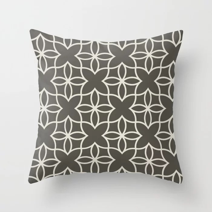 Brown and Cream Line Art Pattern 4 Flower V2 2021 Color of the Year Urbane Bronze and Shoji White Throw Pillow