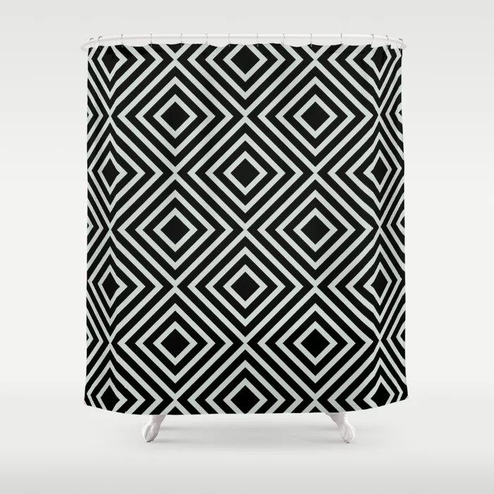 Pastel Green and Black Square Line Art Pattern Behr 2022 Color of the Year Breezeway MQ3-21 Shower Curtain. 2022 color trend