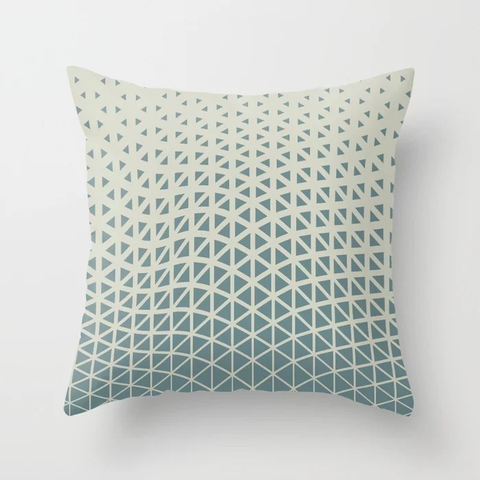 Muted Aqua and Beige Gradient Wave Pattern 2021 Color of the Year Aegean Teal and Sweet Spring Throw Pillow