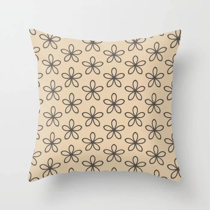 Brown and Tan Minimal Flower Pattern Throw Pillows match and coordinate with Sherwin Williams Paints 2021 Color of the Year Urbane Bronze and Ivoire