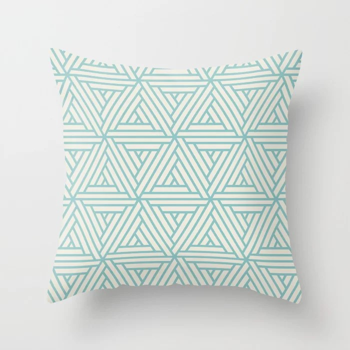 Aquamarine Cream Geometric Shape Mosaic Pattern 2 Pairs 2021 Color of the Year Aqua Fiesta PPG1147-4 Throw Pillow