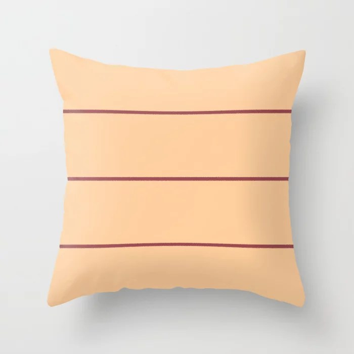 Red and Pastel Peach Abstract Stripe Pattern Pairs HGTV 2021 Color of the Year Passionate Throw Pillow