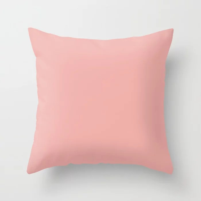 Pastel Pink Peach Solid Color Pairs To Sherwin Williams Youthful Coral SW 6604 Throw Pillow