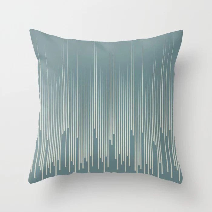 Blue-Green Beige Frequency Line Art Pattern V2 2021 Color of the Year Aegean Teal and Sweet Spring Throw Pillow