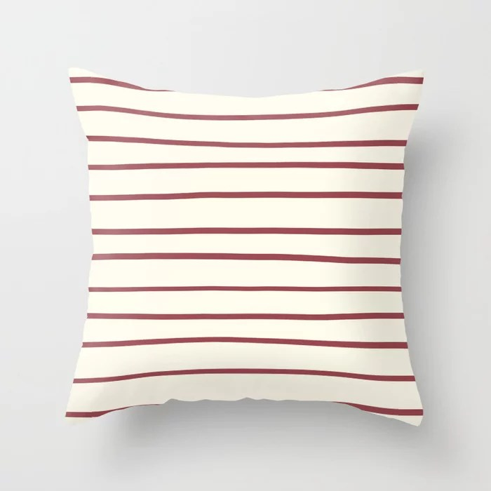 Red and Off-White Horizontal Stripe Pattern 2021 Color of the Year Passionate and Bohemian Lace Throw Pillow