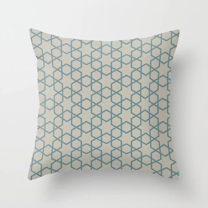 Muted Aqua and Tan Abstract Stars and Diamonds 2021 Color of the Year Aegean Teal and Winterwood Throw Pillow