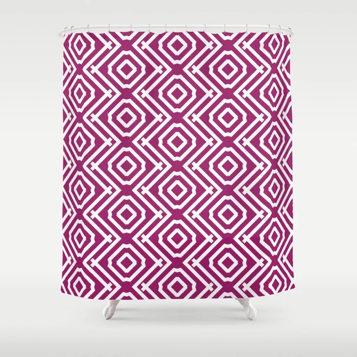 Magenta and White Vertical Stripe Diamond Pattern - Colour of the Year 2022 Orchid Flower 150-38-31 Shower Curtain - 2022 colour trends interior decorating fuchsia - purple - pink