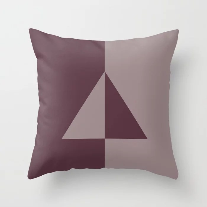 Deep Purple Pink-Purple Minimal Triangle Throw Pillows inspired by and pairs to (matches / coordinates with) Graham and Brown Design 2021 Color of the Year Epoch & Spiced Mulberry