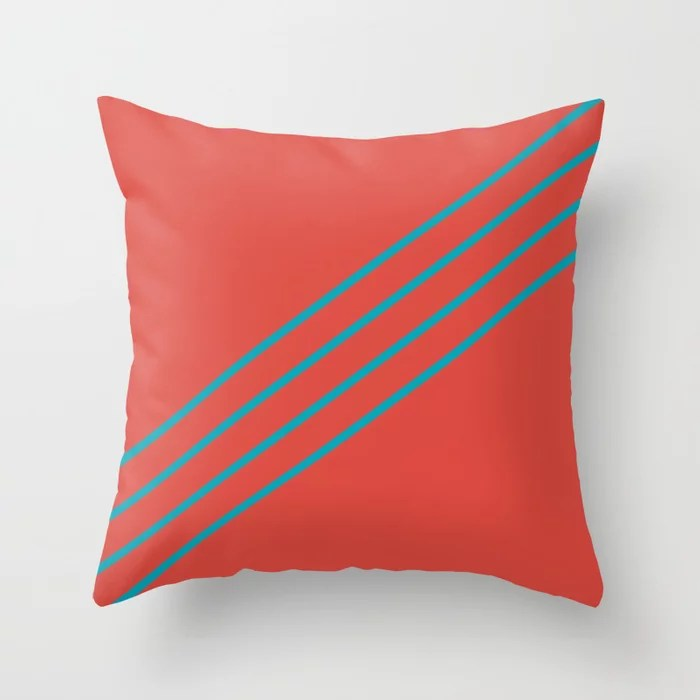 Blue-Green Red Minimal Sponge Stripe Pattern 2021 Color of the Year AI Aqua 098-59-30 Throw Pillow