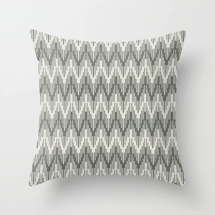 Moody Green Creamy White Chevron Ripple Pattern 2021 Color of the Year Contemplative and Whitewisp Throw Pillow
