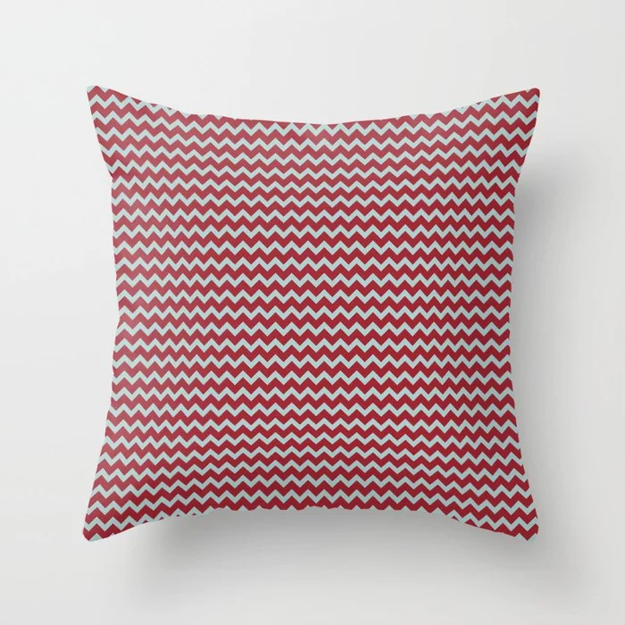 Red and Pastel Blue Chevron Pattern 2021 Color of the Year Satin Paprika and Serenity Blue Throw Pillow