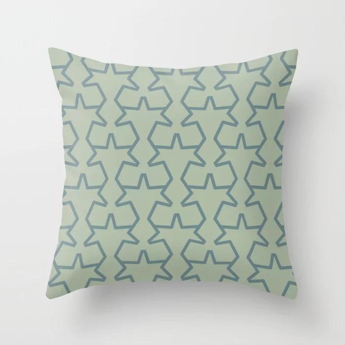 Aqua and Green Geometric Tessellation Pattern 15 2021 Color of the Year Aegean Teal Salisbury Green Throw Pillow