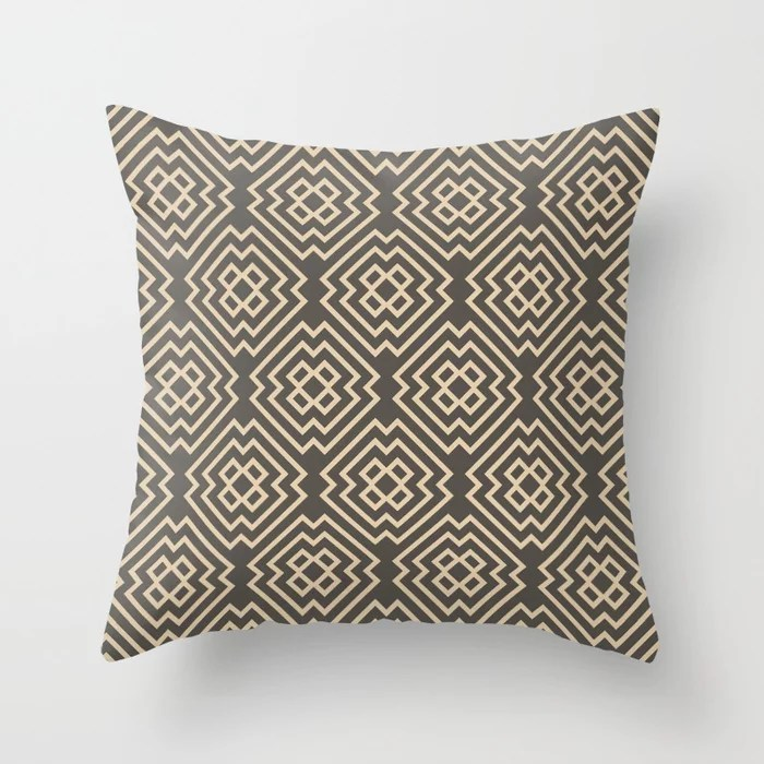 Dark Brown Tan Ornamental Shape Pattern 6 2021 Color of the Year Urbane Bronze and Ivoire Throw Pillow
