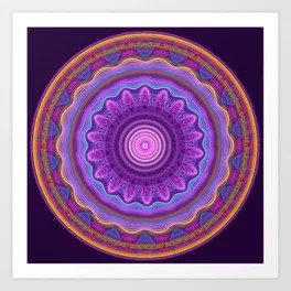 Colourful mandala with waves and tribal patterns Art Print