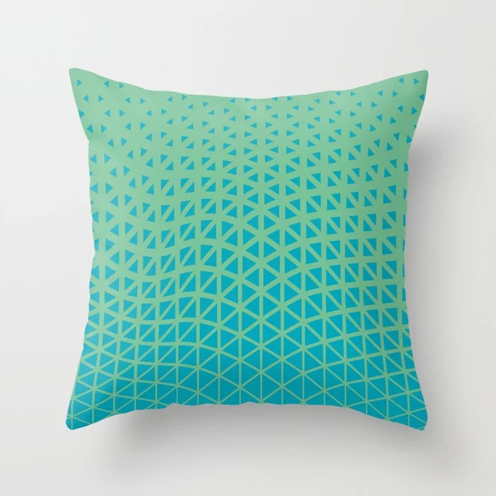 Aqua Blue and Green Triangle Gradient Wave Pattern 2021 Color of the Year AI Aqua and Quiet Wave Throw Pillow