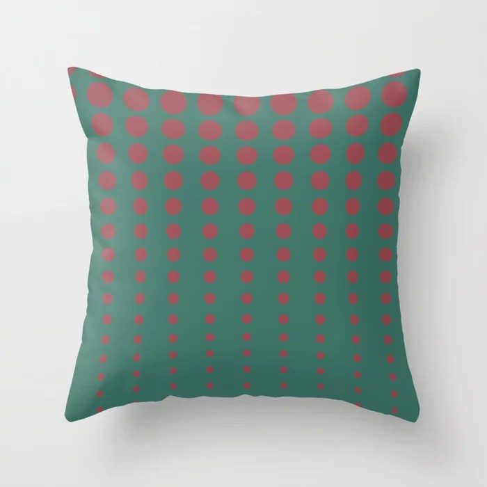 Red Dark Green Reduced Polka Dot Pattern 2021 Color of the Year Passionate and Cloverfields Throw Pillow