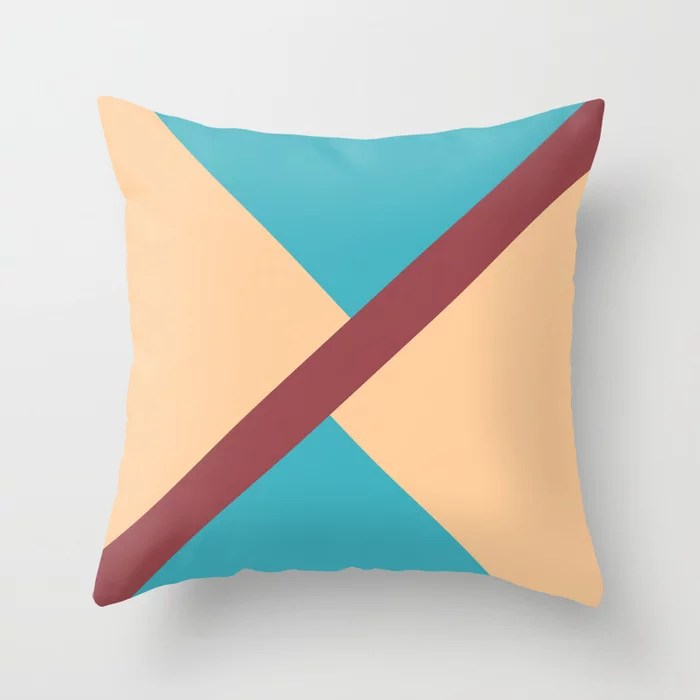 Red Aqua Peach Minimal Thin Angled Line Pattern 2021 Color of the Year Passionate and Accent Shades Throw Pillow