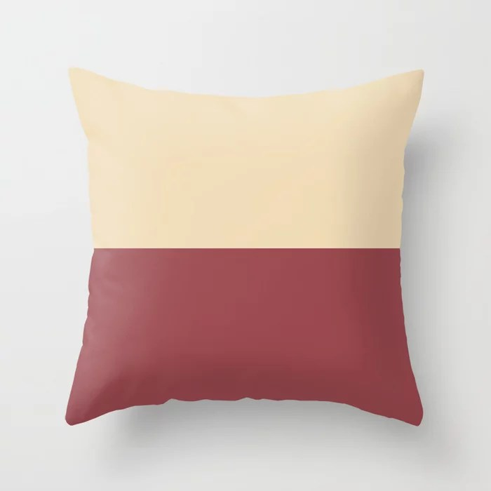 Red and Beige Minimal Solid Color Line Pattern 2021 Color of the Year Passionate and Diamond Weave Throw Pillow