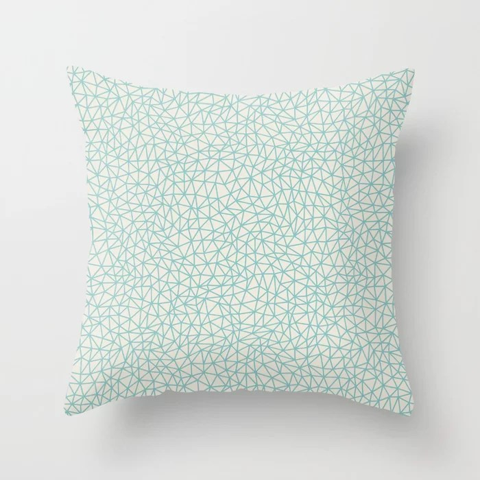 Pastel Teal and Cream Triangle Shape Pattern 2021 Color of the Year Aqua Fiesta and Horseradish Throw Pillow