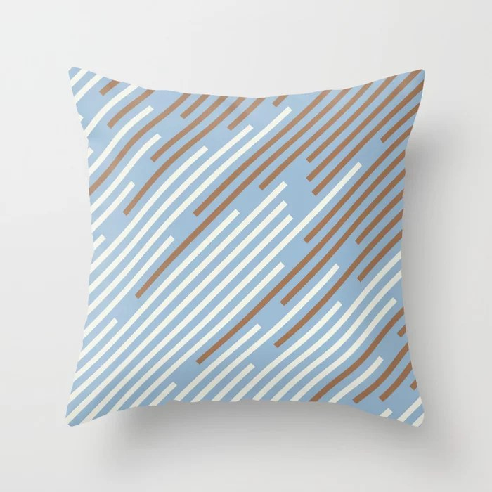Pastel Blue Off White Brown Off-set Stripe Pattern Throw Pillows inspired by and pairs to (matches / coordinates with) Dutch Boy 2021 Color of the Year Earth's Harmony & Accents
