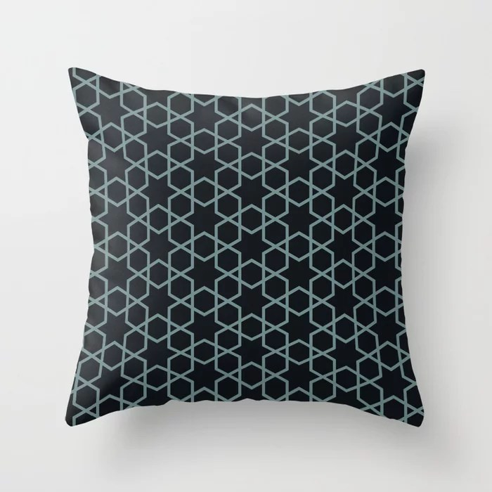Muted Aqua and Black Abstract Stars and Diamonds 2021 Color of the Year Aegean Teal Throw Pillow