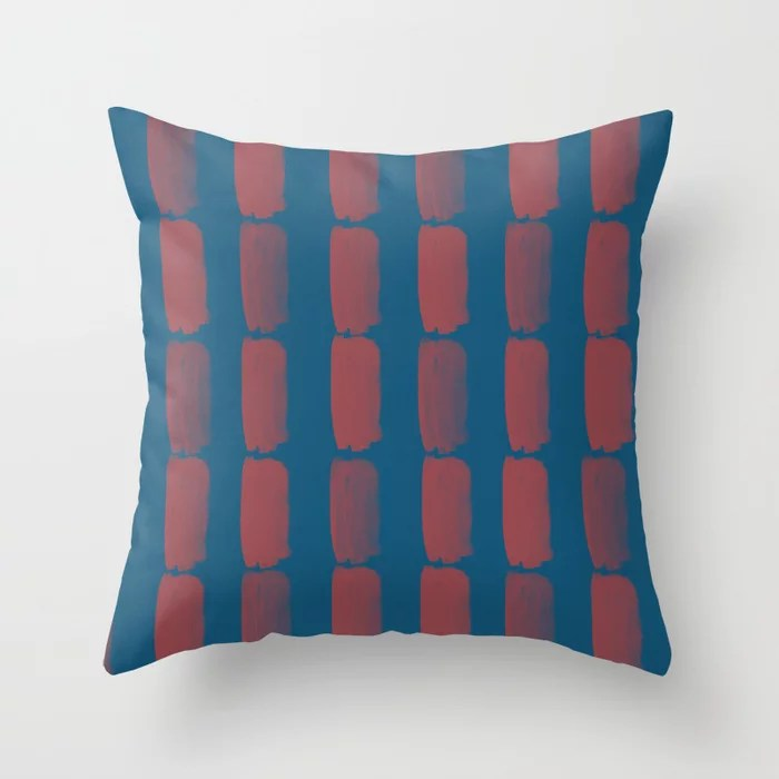 Red and Blue Grid Brushstroke Pattern 2021 Color of the Year Passionate and Long Horizon Throw Pillow