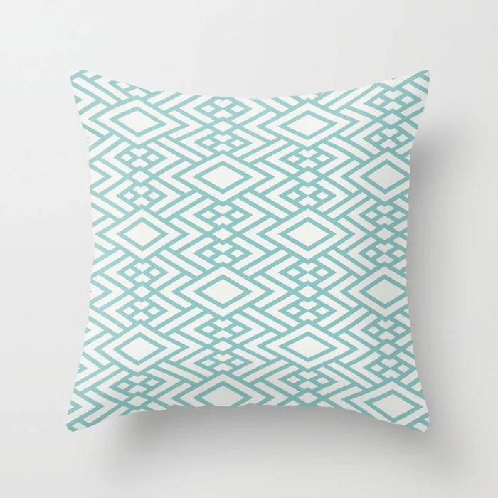 Pastel Teal and White Art Deco Line Pattern 2021 Color of the Year Aqua Fiesta & Delicate White Throw Pillow